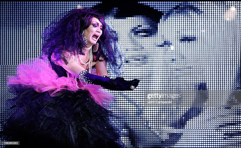 Manila Luzon performs at Sahara Davenport Public Memorial Serviceat at the XL Nightclub on December 14, 2012 in New York City.