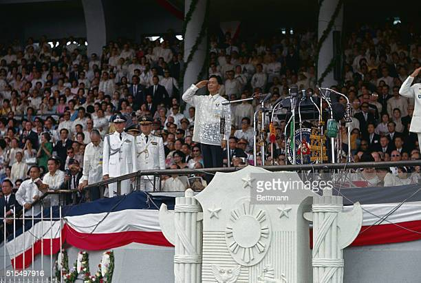 General view of the 6th president of the Philippines Ferdinand E Marcos on the reviewing stand during his inauguration ceremonies December 30th