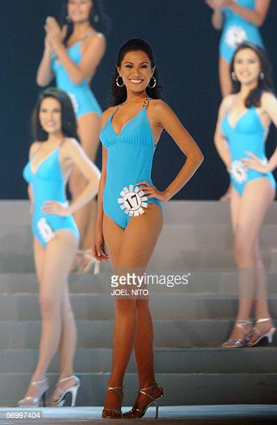 Newly crowned winner of Binibining Pilipinas Universe Lia Andrea Ramos poses to the judges during the swimsuit competetion which she also won the...