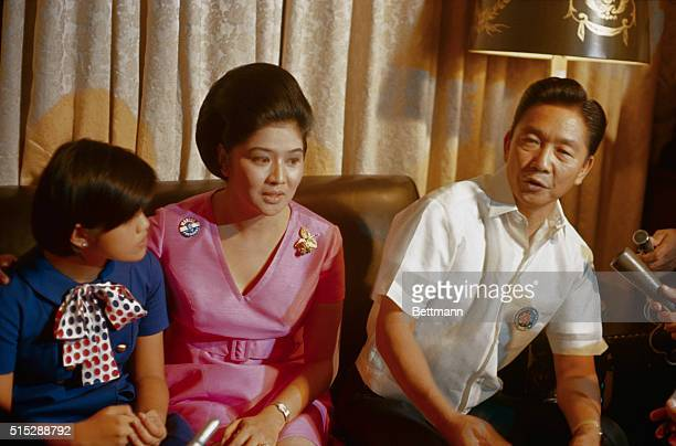 Philippines President Ferdinand E Marcos and his family are shown during interview with foreign and local newsmen at Malacanang Palace here late...