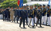 The 10 chiefs of the air forces of the member nations of the Association of Southeast Asian Nations review a guard of honour during a ceremony...