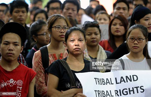 Manipur Tribal Students Protest against Manipur Government for the ongoing grave crisis that grips the tribal area in Manipur at Jantar Mantar New...
