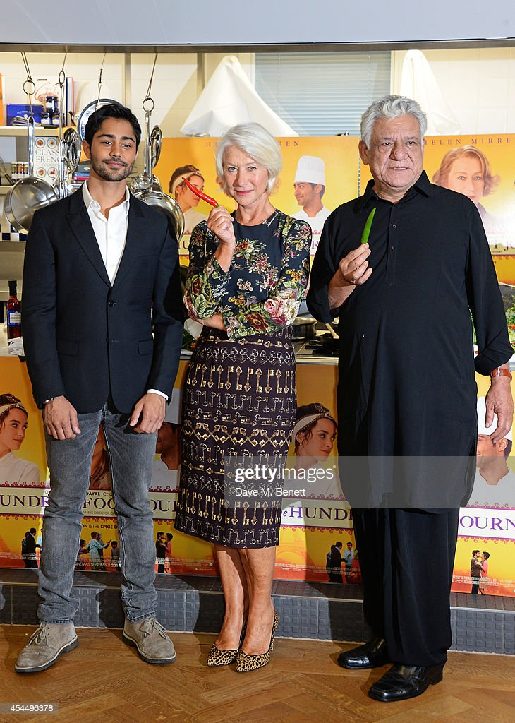 <a gi-track='captionPersonalityLinkClicked' href=/galleries/search?phrase=Manish+Dayal&family=editorial&specificpeople=5593303 ng-click='$event.stopPropagation()'>Manish Dayal</a>, Dame <a gi-track='captionPersonalityLinkClicked' href=/galleries/search?phrase=Helen+Mirren&family=editorial&specificpeople=201576 ng-click='$event.stopPropagation()'>Helen Mirren</a> and <a gi-track='captionPersonalityLinkClicked' href=/galleries/search?phrase=Om+Puri&family=editorial&specificpeople=1651238 ng-click='$event.stopPropagation()'>Om Puri</a> attend a photocall for 'The Hundred-Foot Journey' at Le Cordon Bleu on September 2, 2014 in London, England.