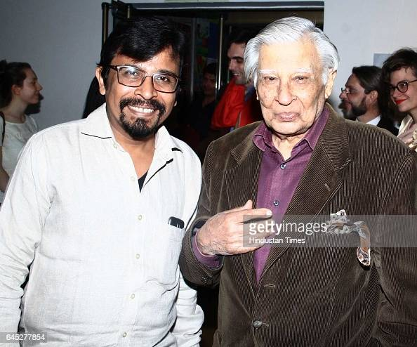Manish Pushkale and Krishen Khanna during the 95th birth anniversary of late artist SH Raza at Visual Art Gallery IHC on February 22 2017 in New...