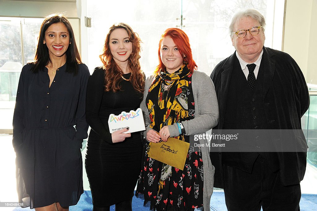 Manjinder Virk, winners of the Best Film by over 13's Rachel Welch and Kyra Georgson, and Sir Alan Parker attend the First Light Awards at Odeon Leicester Square on March 19, 2013 in London, England.