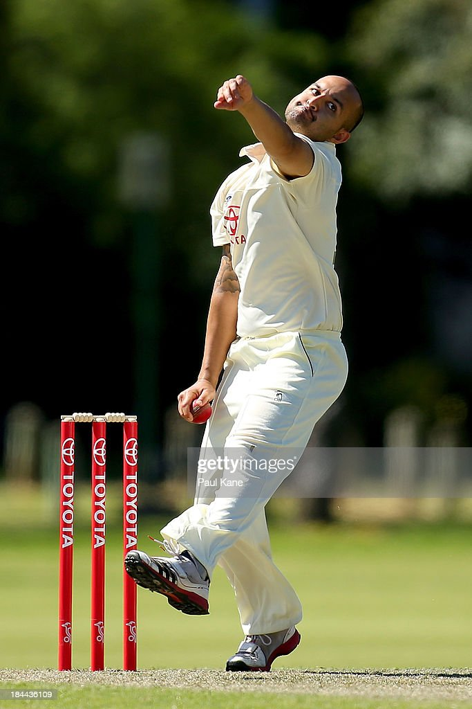 Manjot Singh of New South Wales bowls during day one of the Futures League match between Western Australia and New South Wales at Richardson Park on October 14, 2013 in Perth, Australia.