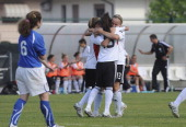 Manjou Wilde of Germany celebrates after scoring her second teams goal during the U16 Women international friendly match between Italy and Germany at...