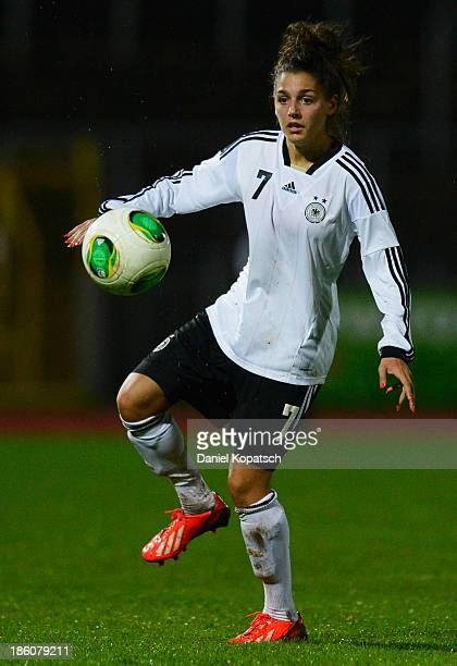 Manjou Wilde of Germany controls the ball during the women's U19 international friendly match between Germany and Sweden on October 23 2013 in Ulm...