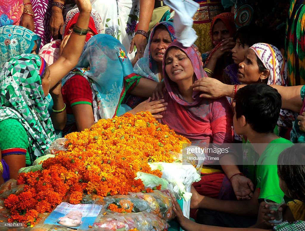 Manju wife of soldier Jagveer Singh mourns the death of her son after his body arrived who was killed in Ambush in Manipur at Muradghadi Village on...