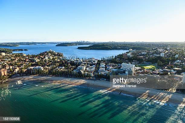 Manly beach and a distant Sydney skyline