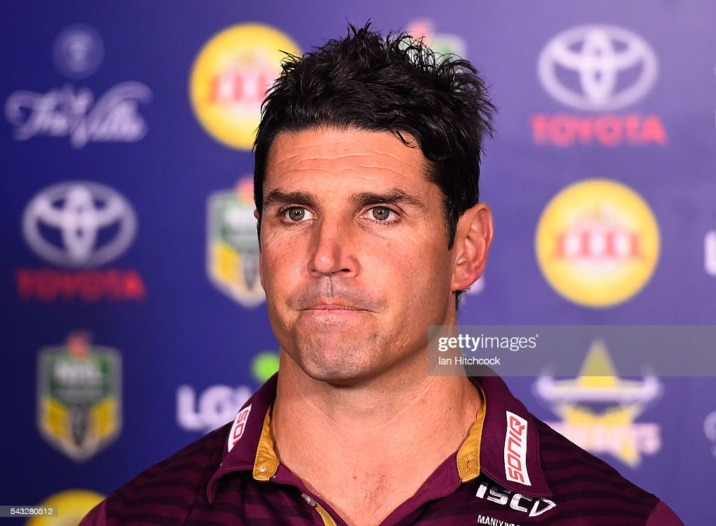 Manly coach <a gi-track='captionPersonalityLinkClicked' href=/galleries/search?phrase=Trent+Barrett&family=editorial&specificpeople=213750 ng-click='$event.stopPropagation()'>Trent Barrett</a> looks on at the post match media conference at the end of during the round 16 NRL match between the North Queensland Cowboys and the Manly Sea Eagles at 1300SMILES Stadium on June 27, 2016 in Townsville, Australia.