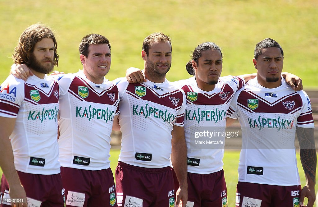 Manly players (L-R) David Williams, Jamie Lyon, <a gi-track='captionPersonalityLinkClicked' href=/galleries/search?phrase=Brett+Stewart&family=editorial&specificpeople=220234 ng-click='$event.stopPropagation()'>Brett Stewart</a>, Steve Matai and Jorge Taufua pose during the Manly Sea Eagles NRL Grand Final media day at Brookvale Oval on September 30, 2013 in Sydney, Australia.