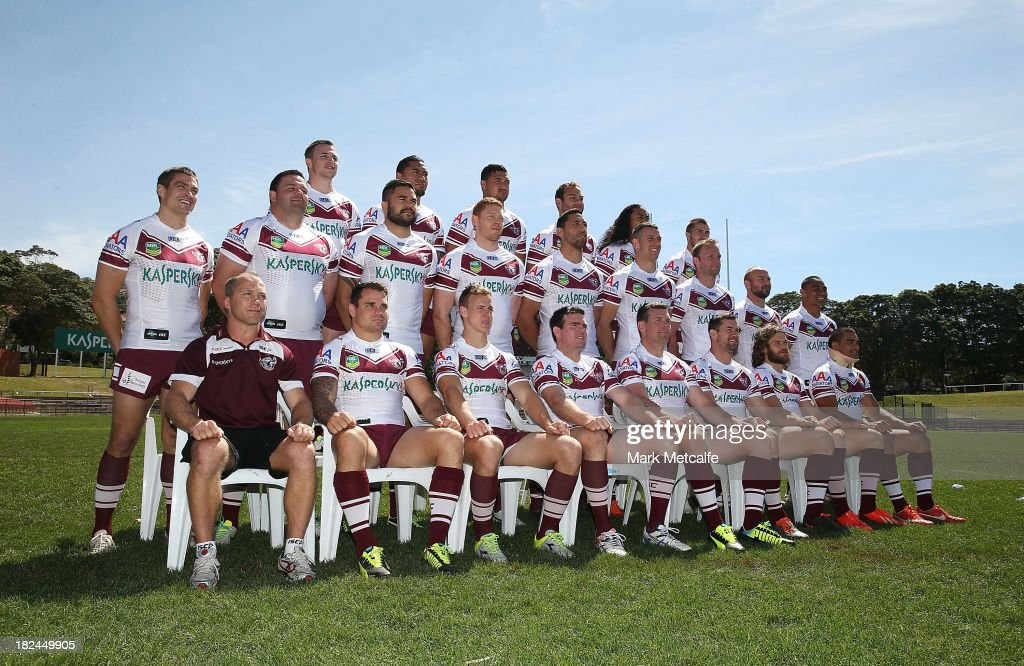 Manly players pose for a team photo during the Manly Sea Eagles NRL Grand Final media day at Brookvale Oval on September 30, 2013 in Sydney, Australia.