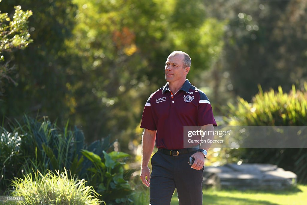 Manly Sea Eagles coach Geoff Toovey arrives at a Manly Sea Eagles NRL press conference to discuss the resigning of Daly Cherry-Evans at Sydney Academy of Sport on June 3, 2015 in Sydney, Australia. Cherry-Evans has signed a life-time NRL deal with the Manly Sea Eagles after reneging on a contract with the Gold Coast Titans.