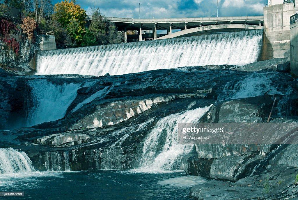 Man-made falls at electrical plant in Spokane WA : Stock Photo