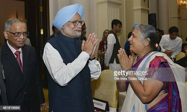 Manmohan Singh and Narayan Murthy at Amartya Sen's launch of a series of books in New Delhi