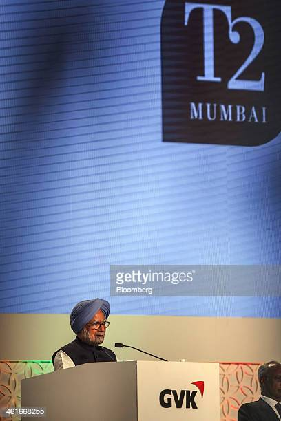 Manmohan Singh India's prime minister speaks during the inauguration of the newly built Terminal 2 of the Chhatrapati Shivaji International Airport...