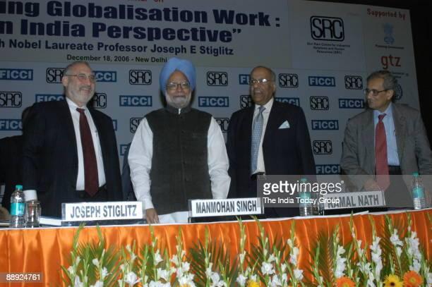 Manmohan Singh Prime Minister of India along with Joseph Stiglitz Nobel prizewinning economist Amartya SenIndian Nobel Laureate Saroj Kumar Poddar...