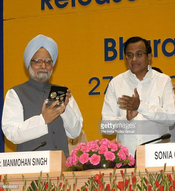 Manmohan Singh Prime Minister of India with P Chidambaram Union Cabinet Minister of finance at release of commemorative coins in honour of Bharat...