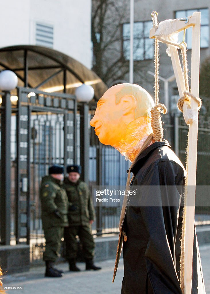 A mannequin depicting President of Russia Vladimir Putin,during a rally against political repression in Russia, in front the Embassy of Russia. Protesters gathered to support for political prisoners in Russia and Russian oppositionist Ildar Dadin.