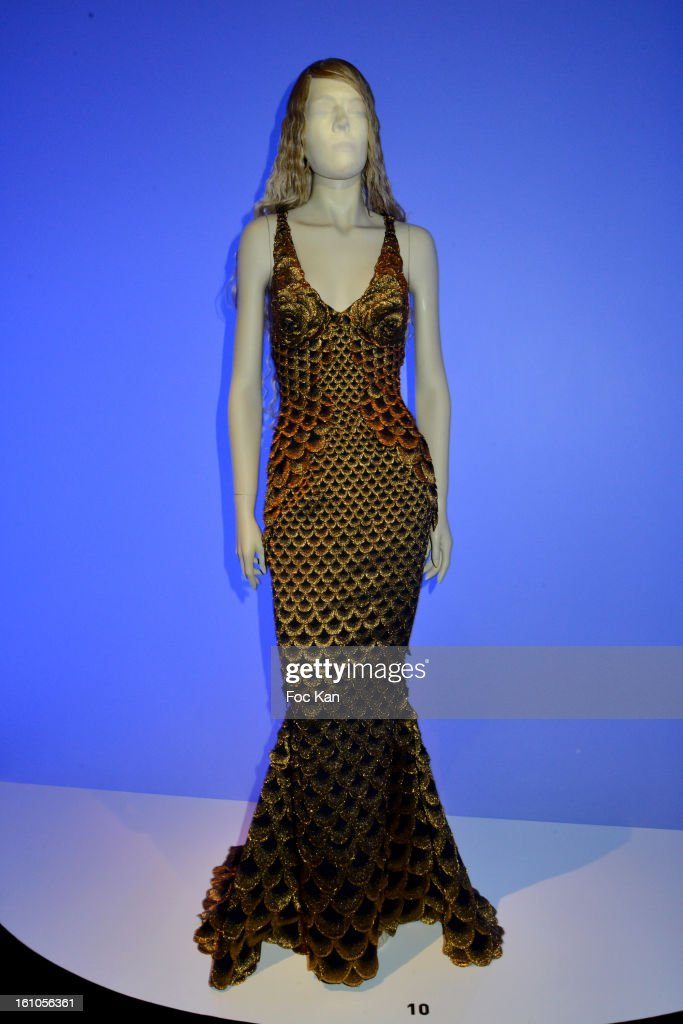 A mannequin dressed by Jean Paul Gaultier is exhibited during the 'Planete Mode' Exhibition Launch by Jean-Paul Gaultier at Kunsthal Museum on February 8, 2013, in Rotterdam, Netherlands.