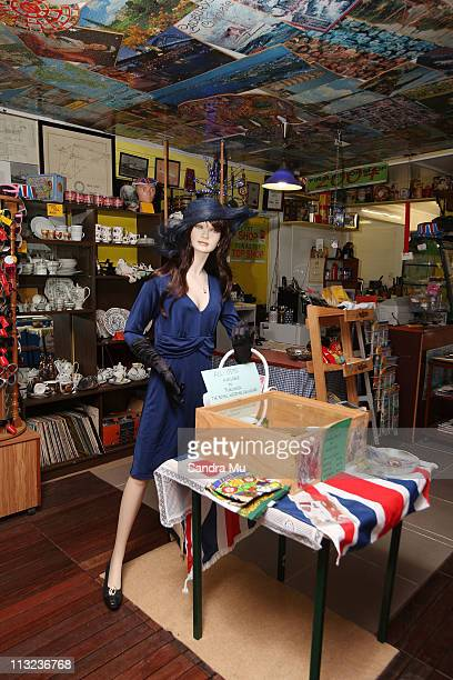 A mannequin dressed to look like Kate Middleton wearing a replica engagement dress greets customers at Corogate Cafe on April 28 2011 in Auckland New...