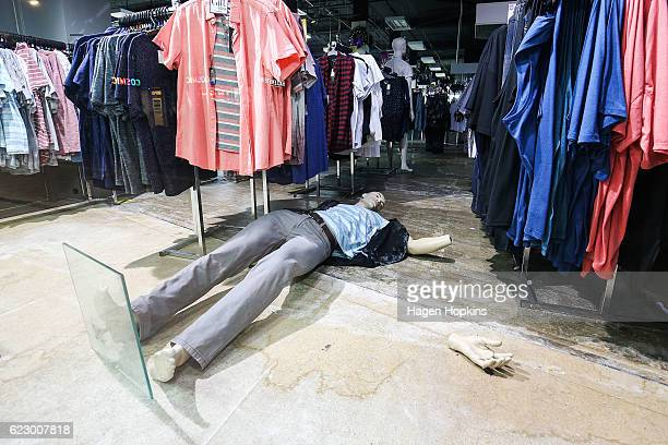 A mannequin in Farmers department store lies on the ground after an earthquake on November 14 2016 in Wellington New Zealand The 75 magnitude...