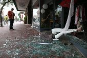 A mannequin lays in broken glass in front of a damaged buillding following a reported 60 earthquake on August 24 2014 in Napa California A 60...