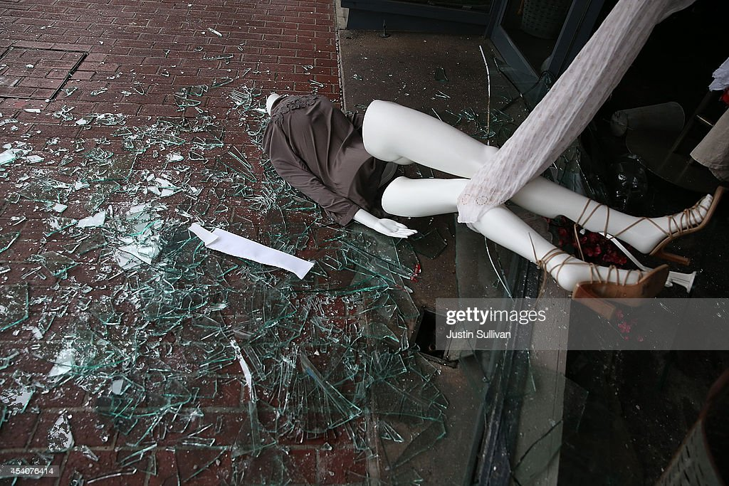 A mannequin lays in broken glass in front of a damaged buillding following a reported 6.0 earthquake on August 24, 2014 in Napa, California. A 6.0 earthquake rocked the San Francisco Bay Area shortly after 3:00 am on Sunday morning causing damage to buildings and sending at least 70 people to a hospital with non-life threatening injuries.