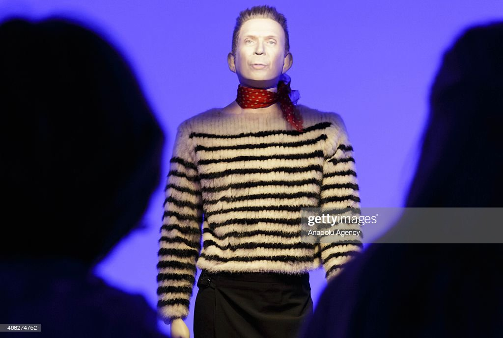 A mannequin of <a gi-track='captionPersonalityLinkClicked' href=/galleries/search?phrase=Jean+Paul+Gaultier+-+Modeontwerper&family=editorial&specificpeople=4310036 ng-click='$event.stopPropagation()'>Jean Paul Gaultier</a> is seen during an exhibition by French fashion designer Jean-Paul Gaultier at the Grand Palais in Paris on April 1, 2015.