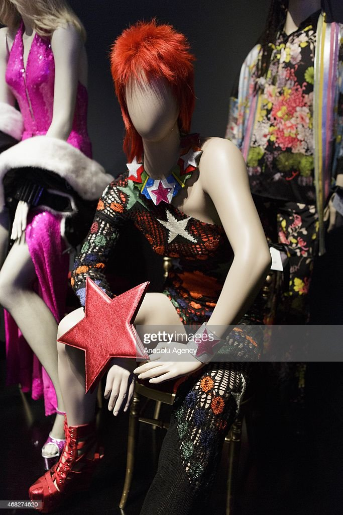 A mannequin wearing a David Bowie costume is seen during an exhibition by French fashion designer Jean-Paul Gaultier at the Grand Palais in Paris on April 1, 2015.