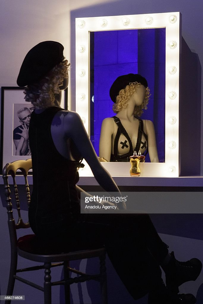 A mannequin wearing a <a gi-track='captionPersonalityLinkClicked' href=/galleries/search?phrase=Madonna+-+Zangeres&family=editorial&specificpeople=156408 ng-click='$event.stopPropagation()'>Madonna</a> costume is seen during an exhibition by French fashion designer Jean-Paul Gaultier at the Grand Palais in Paris on April 1, 2015.