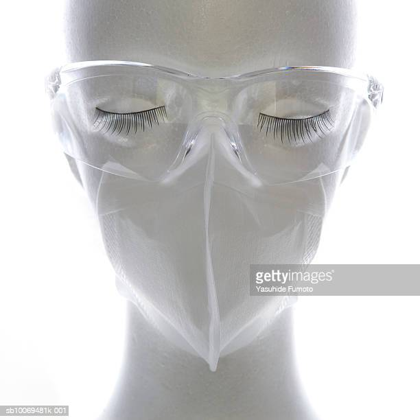 Mannequin wearing protective glasses