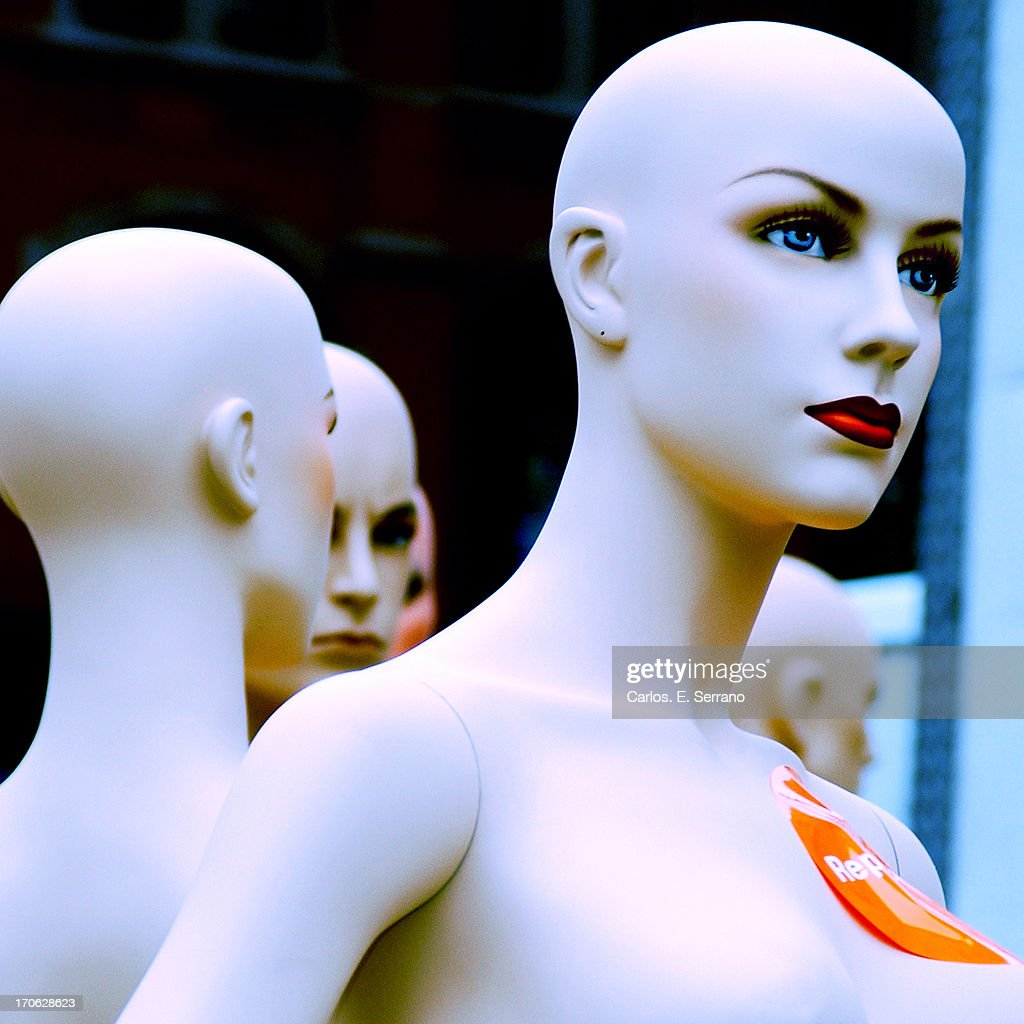 Mannequin with red lipstick