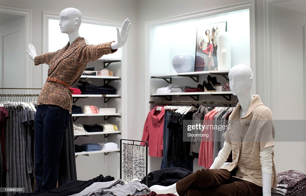 Mannequins Are Posed Near Clothing Displayed For Sale At A Talbots Inc.  Store In The