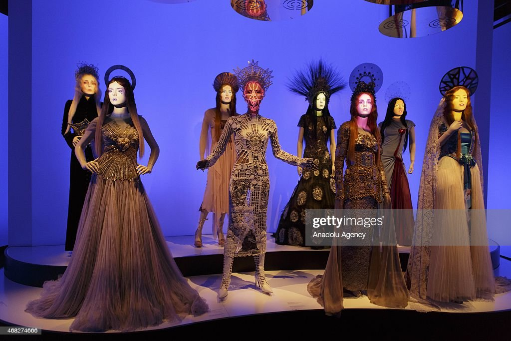 Mannequins are seen during an exhibition by French fashion designer Jean-Paul Gaultier at the Grand Palais in Paris on April 1, 2015.