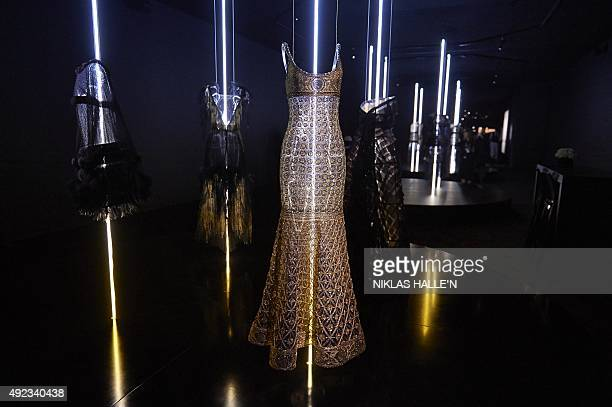 Mannequins display hautecouture outfits by Fench fashion house Chanel during a pressview of 'Mademoiselle Privé' a joint exhibition presented by...