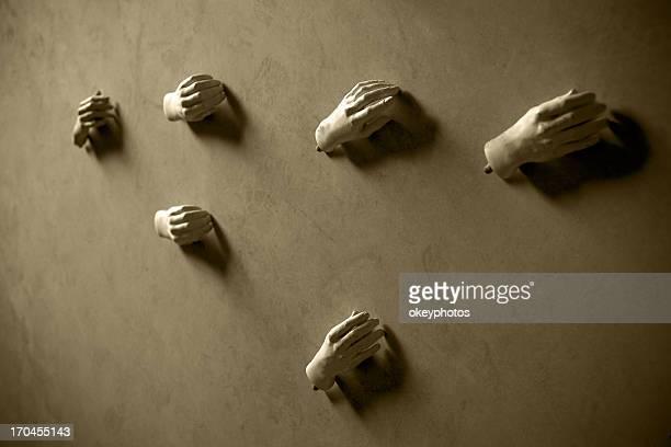 Mannequin's hands on the floor
