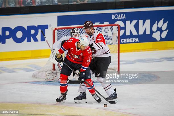 Mannheim's Matthias Plachta and Karel Pilar of SPA during the Champions Hockey League group stage game between Adler Mannheim and Sparta Prague on...