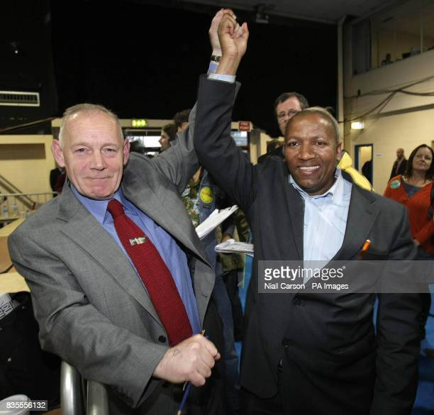 Mannix Flynn is congratulated on his election to Dublin Council by Patrick Maphoso in the Dublin central ByeElection at the RDS in Dublin