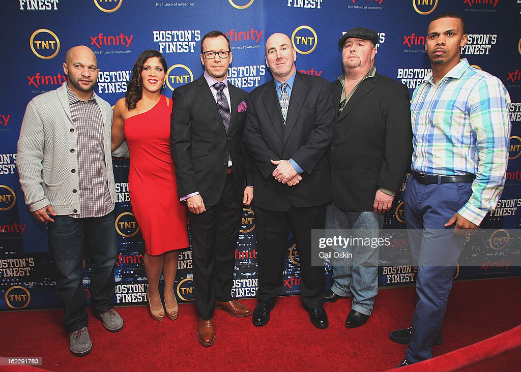 Manny Canuto, Jenn Penton, Donnie Wahlberg, Dan Linskey, Robert 'Twitch' Twitchell, and Diamantino Araujo attend TNT's 'Boston's Finest' premiere screening at The Revere Hotel on February 20, 2013 in Boston, Massachusetts.