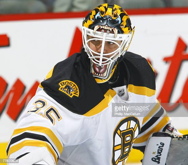 Manny Fernandez of the Boston Bruins looks on against the Montreal Canadiens on October 22 2007 at the Bell Centre in Montreal Quebec Canada The...