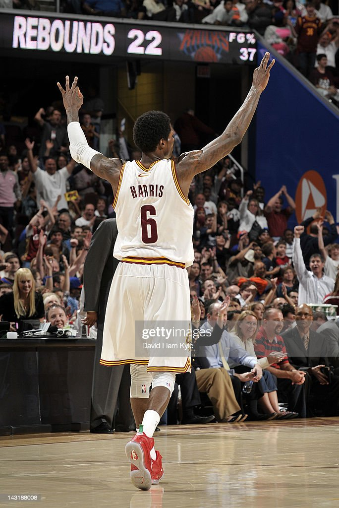 <a gi-track='captionPersonalityLinkClicked' href=/galleries/search?phrase=Manny+Harris&family=editorial&specificpeople=4683139 ng-click='$event.stopPropagation()'>Manny Harris</a> #6 of the Cleveland Cavaliers backs up down the court after sinking a three pointer against the New York Knicks at The Quicken Loans Arena on April 20, 2012 in Cleveland, Ohio.