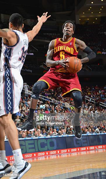 Manny Harris of the Cleveland Cavaliers goes to the basket against Gerald Green of the New Jersey Nets during the game on April 8 2012 at the...
