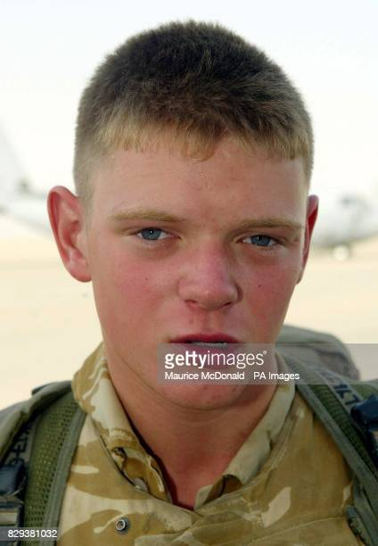 Manny Lynch aged 19 of the Black Watch speaks to the media before boarding a Hercules C130 to go to northern Iraq The Black Watch battle group with...