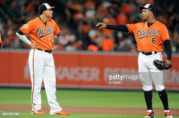 Manny Machado and Jonathan Schoop of the Baltimore Orioles talk during a break in the game against the Detroit Tigers at Oriole Park at Camden Yards...