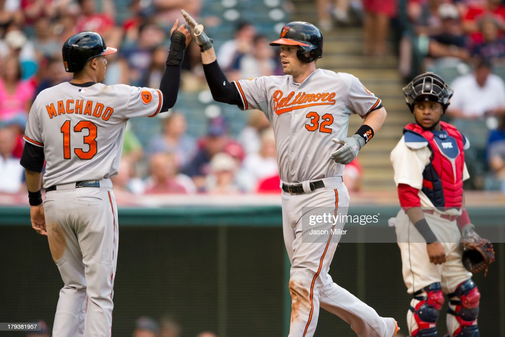 <a gi-track='captionPersonalityLinkClicked' href=/galleries/search?phrase=Manny+Machado&family=editorial&specificpeople=5591039 ng-click='$event.stopPropagation()'>Manny Machado</a> #13 celebrates with <a gi-track='captionPersonalityLinkClicked' href=/galleries/search?phrase=Matt+Wieters&family=editorial&specificpeople=4498276 ng-click='$event.stopPropagation()'>Matt Wieters</a> #32 of the Baltimore Orioles after both scored on a two run home run during the ninth inning by Wieters against the Cleveland Indians at Progressive Field on September 2, 2013 in Cleveland, Ohio.