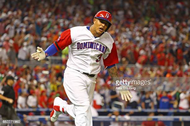 Manny Machado of Team Dominican Republic reacts to hitting a solo home run in the sixth inning during Game 4 Pool C of the 2017 World Baseball...