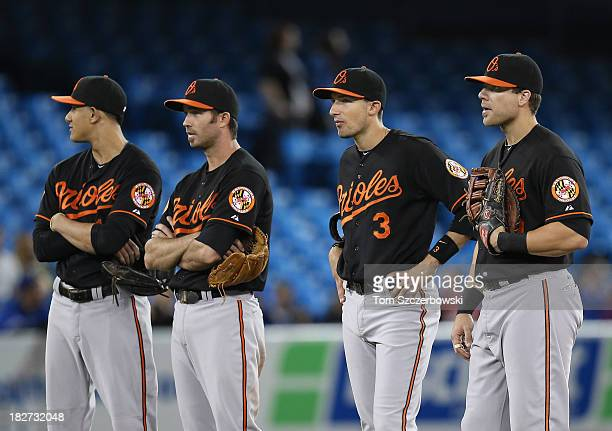 Manny Machado of the Baltimore Orioles and JJ Hardy and Ryan Flaherty and Chris Davis look on during a pitching change in the seventh inning during...