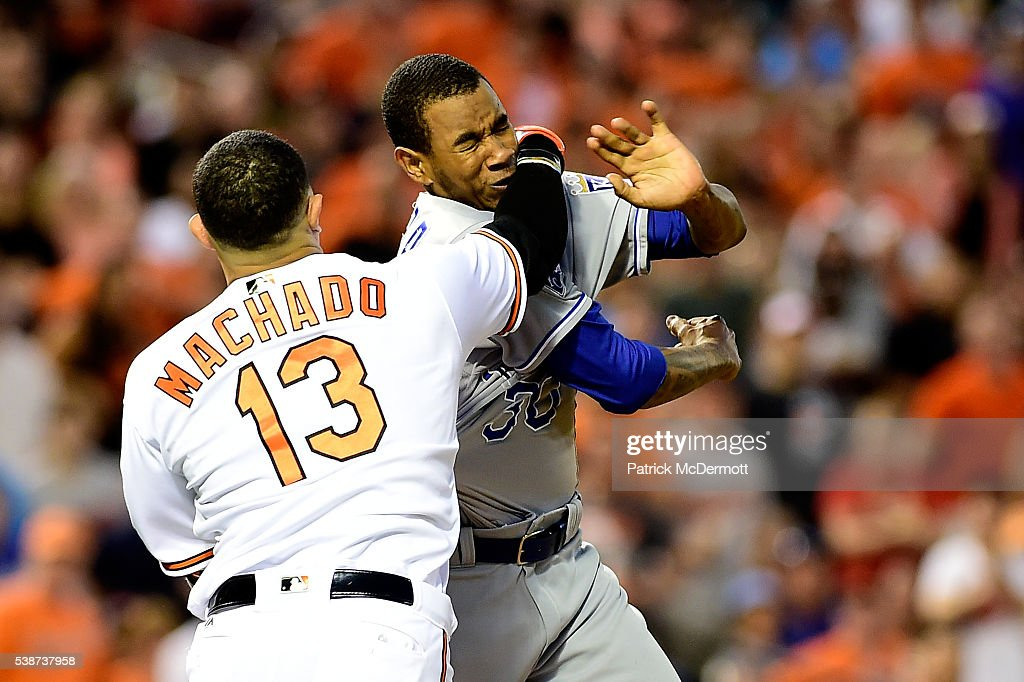 <a gi-track='captionPersonalityLinkClicked' href=/galleries/search?phrase=Manny+Machado&family=editorial&specificpeople=5591039 ng-click='$event.stopPropagation()'>Manny Machado</a> #13 of the Baltimore Orioles and <a gi-track='captionPersonalityLinkClicked' href=/galleries/search?phrase=Yordano+Ventura&family=editorial&specificpeople=9527243 ng-click='$event.stopPropagation()'>Yordano Ventura</a> #30 of the Kansas City Royals fight in the fifth inning during a MLB baseball game at Oriole Park at Camden Yards on June 7, 2016 in Baltimore, Maryland. Machado and Ventura were ejected from the game.
